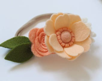 Peach felt flower headband, felt flower, toddler headband, flower crownl headband, girl headband, felt headband, spring, Easter headband