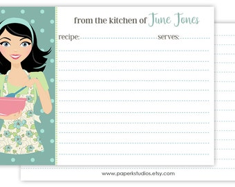 4x6 personalized recipe cards, set of 25 double sided recipe cards for bridal showers or housewarming gift - black hair/mint apron