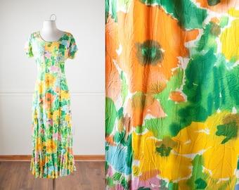 Watercolor Print Floral Maxi Dress, Boho Dress, Vintage 90s Dress, Pastel Grunge Clothing, Jams World, Long Romantic Dress, Bohemian Dress