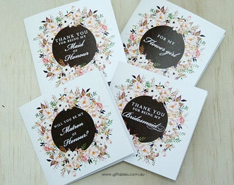 Wildflower Bridal Party Gift Cards - Will you be my...?