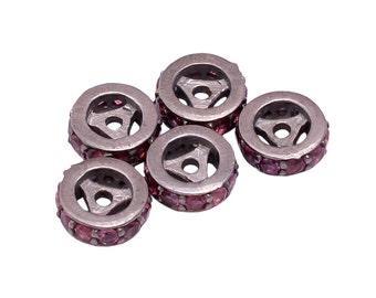 Rhodolite Garnet Pave Beads, Semi Precious Stone Beads In 925 Sterling Silver, 8mm Pave Beads, Semi Precious Pave
