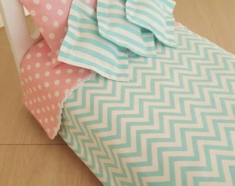 Reversible Comforter For American Girl Doll Bed With Decorative Pillows.