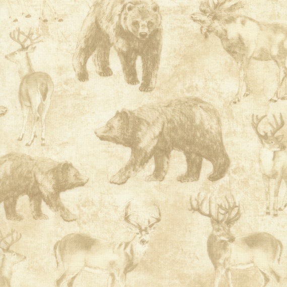 Cream Wildlife Toile Fabric Cabin Rules Timeless Treasures