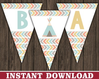 Tribal Baby Shower Banner - Pow Wow, Aztec, Teepee Baby Shower Decorations - Printable Digital File - INSTANT DOWNLOAD