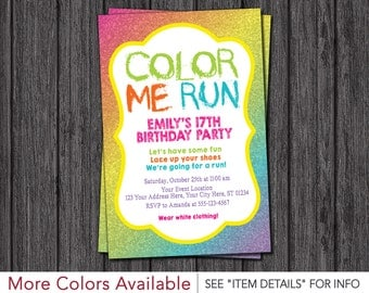 Color Run Invitation - Color Run Birthday Party Invitations