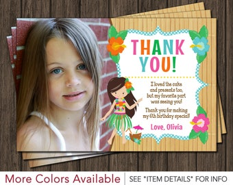 Luau Thank You Card • Personalized Hawaiian Birthday Party Thank You Cards