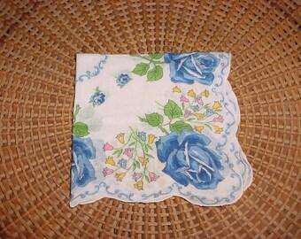Blue Roses Flower Hankie Hanky BEAUTIFUL Handkerchief Scalloped Edge Border