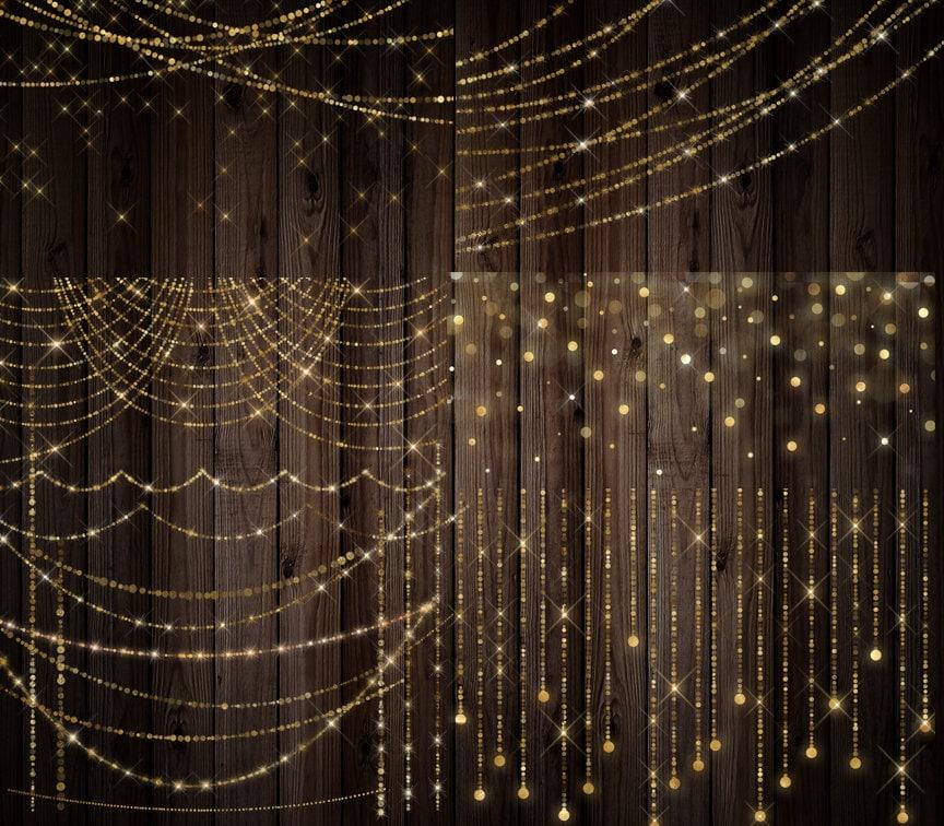String Lights Bokeh : Gold Bokeh Sparkling String Lights - Digital Overlay PNG Fairy Lights, Christmas Strands, gold ...