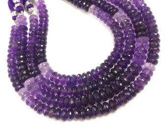 """AAA Natural Amethyst shaded  faceted rondelle loose gemstone beads 6mm-7mm 8""""inch strand wholesale lot price"""