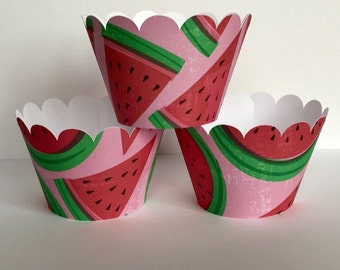 Watermelon Slice Pink Black Cupcake Wrappers Party Decorations, cupcake holders, party supplies, cupcake wraps, cupcake sleeves, paper goods