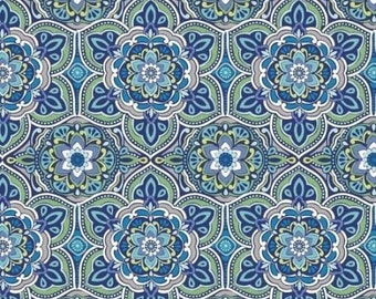 "Medallion Blue by David Textiles Salt air Collection 44"" Quilting Cotton"