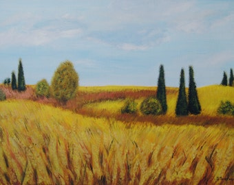 Autumn, Wheatfield painting, Original, Impressionism, Canvas painting, Ready to hang, Trees,Sky, Clouds, Certificate,  15.7 x 21.7 in