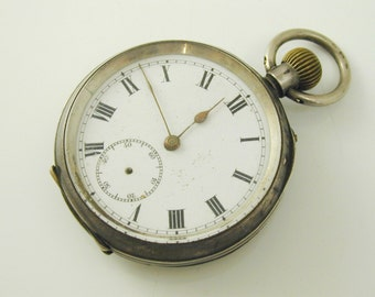 Pocket watch antique silver '935' mechanical movement spares or repairs