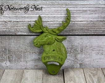 ANY COLOR Cast Iron moose bottle opener / vintage style bottle opener / wall mounted bottle opener / avocado decor / hunting cabin decor