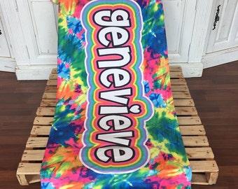 Tie Dye Personalized Towel   Tie Dye   Camp Towels   Custom Beach Towels   Tie Dye Gift   Personalized Towel   Summertime  