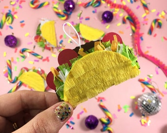Mini Taco Pinatas, (5) Taco Ornaments, Fiesta Decorations, Cinco de Mayo, Christmas Decorations, Mexican Fiesta Party Favors Set of 5