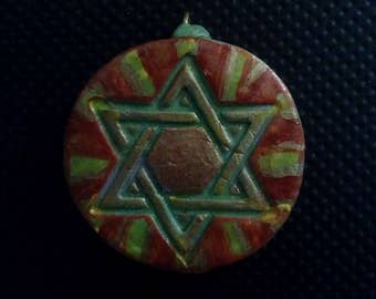 Red, Gold and Green Star of David Pendant, Star of David Polymer Pendant, SOD Pendant, Star of David Pendant, Gold Star of David Pendant