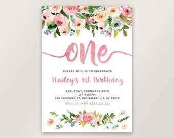 Floral 1st Birthday Invitation, Girl First Birthday Invitation, Watercolor Flowers, One Birthday Invitation Card, Printable, Digital File