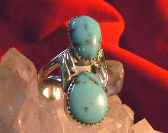 Tyrone Turquoise and Sterling Silver Ring, Size 6.5 US, 10 carat TW