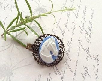 Hair Clip White On Blue Horse Filigree Alligator Hair Clip