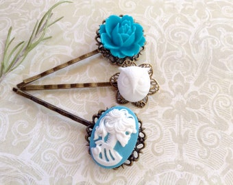 White On Sky Blue She Skull And Floral Hair Clips