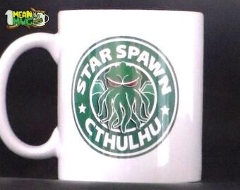 H P Lovecraft Star Spawn Cthulhu Starbucks Parody Funny Coffee Mug- 11 oz Lovecraft Cthulhu Coffee Mug Gift