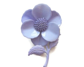1960s Large Lilac Flower Brooch