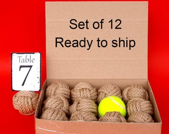 Coastal Wedding Knots Hemp Rope 12 Table Number Holders for your Nautical Wedding - Monkey Fist Knots