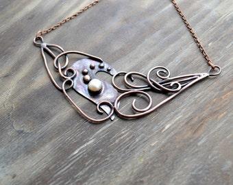 Asymmetrical copper necklace, bride, wedding jewelery, curls, modern, romantic jewelry, white pearl