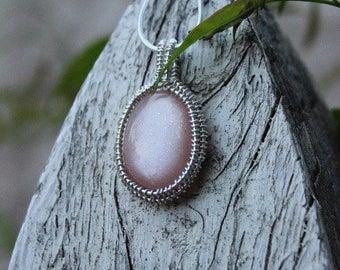 Sterling silver peach moonstone