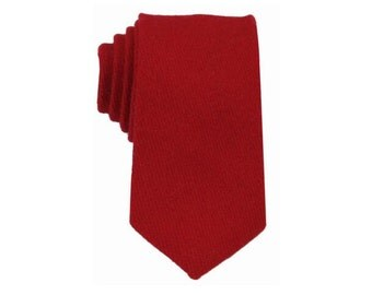 Red Wool Tie.Mens Wool Tie.Red Skinny Wool Tie.Wedding.Gift Ideas.Groomsmen