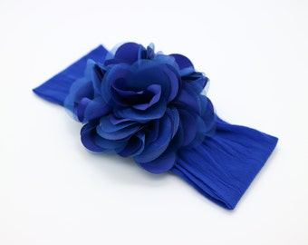 Royal Blue Flower Headband, Royal Blue Baby Headband, Big Flower Nylon Headband, Flower Girl Headband, Blue Big Flower Head band, 914