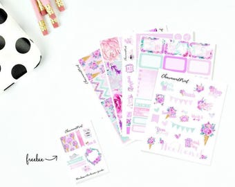 Weekly Planner Sticker Kit / Small Kit / Sweet Blooms /  Vertical / 200+ stickers