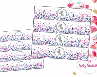 INSTANT DOWNLOAD - Unicorn Water Bottle Wrappers - Unicorn Party Printables - Unicorn Labels - Your Print - Unicorn Birthday Party
