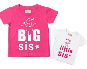 Sister Tshirts Big Sis Little Sis Pink T Shirt Set Available in Sizes from 0-6 Months