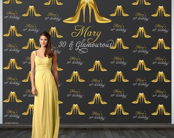 Stepping into 30 Personalized Photo Backdrop -30th Birthday Photo Backdrop- Step and Repeat Photo Backdrop, Gold Heels Photo Backdrop