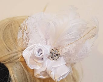 Bridal wedding white , roses and lace steampunk fascinator. Victorian burlesque.