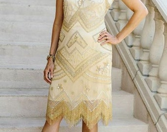 1920s Champagne Gold and Silver Roxy Flapper Dress- S, m, L, or XL or Plus Sizes