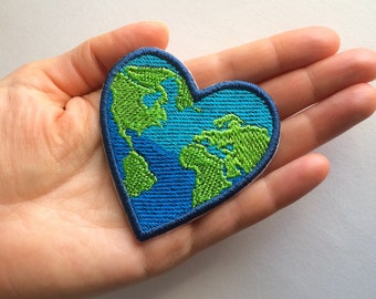 Earth Heart Embroidery patch or pin