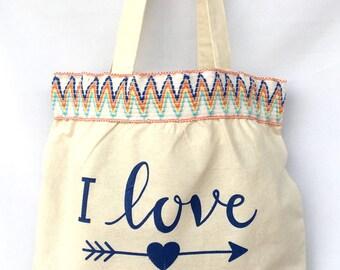 I Love LA Zigzag Trimmed Tote Bag.  Dodgers Canvas Bag. Los Angeles Shoulder Tote Bag. Gift Friendly.