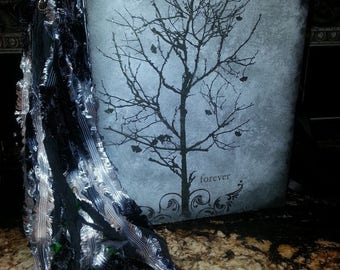 SALE!!! Handmade Gothic Book of shadows, BOS/ Journal/ Diary/ spell book/ scrapbook/ cool tones, wicca/aged parchment paper WOW