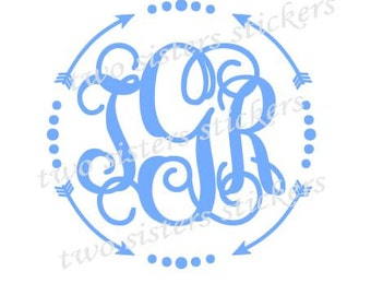 Arrows and Dots Border Monogram Decal