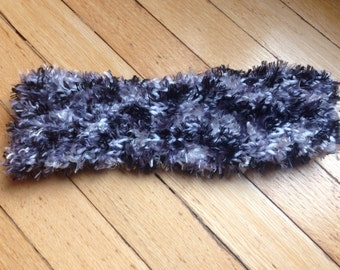 Headband earwarmer, knit, fuzzy, tapered headband, tapered earwarmer