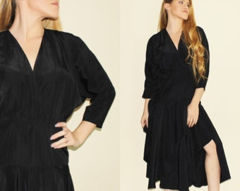 Vintage 80s Black Layered Dress Glam Cocktail Evening Cinched Waist 1980s Party Dress Low Cut Surplice Silky S/M