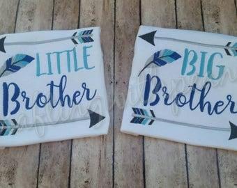 big bro, lil bro,  brother shirts, brother shirt set, new baby, new brother, little brother, big brother, brother shirt set, brother arrows