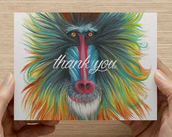 "Baboon Greeting Card - Set of 20 5.5x4"" folded cards"