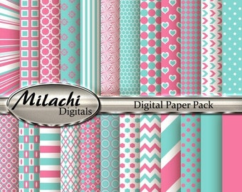 60% OFF SALE Carnation Pink and Blue Digital Paper Pack, Scrapbook Papers, Commercial Use - Instant Download - M110