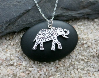 Elephant Necklace, Sterling Silver Decorated Elephant Pendant, Animal Jewelry