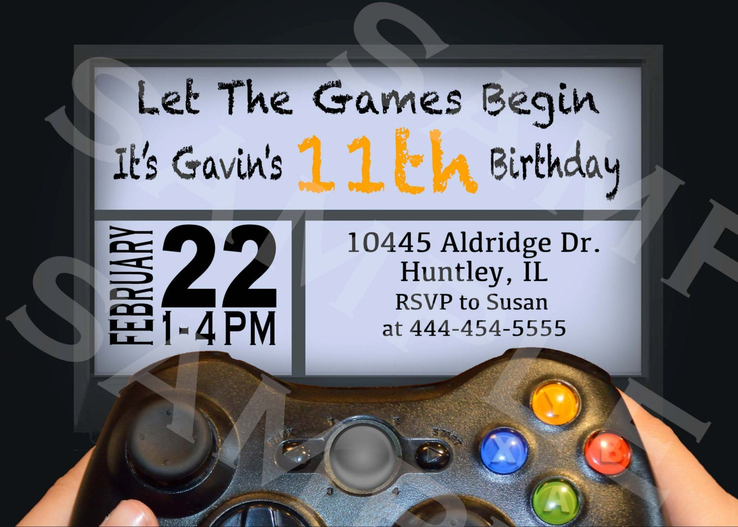 VIDEO GAME Birthday Party Invitation Gamer Theme Invitation