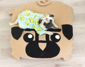 M Pug pillow - dog bed - pouf - pugs - cute